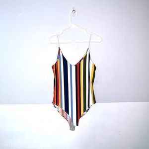 EUC gaze Bodysuit Colorful Striped M